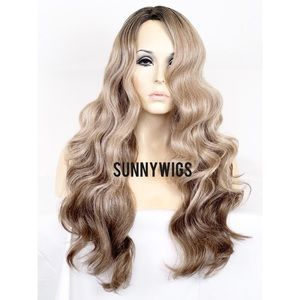 Ash Blonde Brown Hair. Ombré Wig. Bodywave